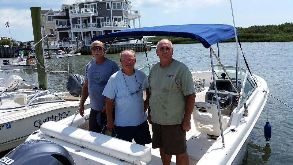 Club member Fred Walker, center, was joined on his boat by friends Charlie App and Stan Kowalczyk for a fishing trip Friday morning.