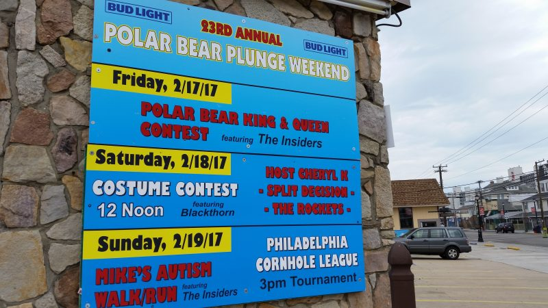A lineup of Polar Bear-related events is listed on a sign at the LaCosta Lounge, the epicenter for weekend entertainment.