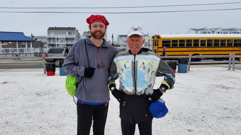 Roger Hauge, 85, was joined by his 35-year-old son, Eric, in the marathon.