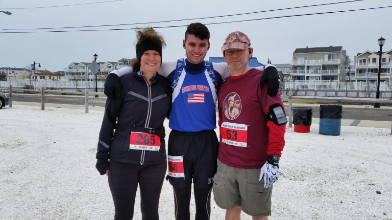 From left, Pat Weidner, her son, John, and her brother, Thomas Marshall, made the marathon a family affair.