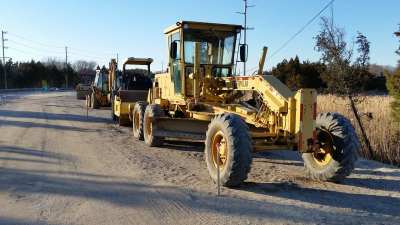 Heavy construction equipment is being used to rebuild and pave the boulevard.