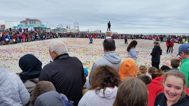 Thousands of people lined the beaches between 11th and 14th streets to watch the children scramble for eggs.