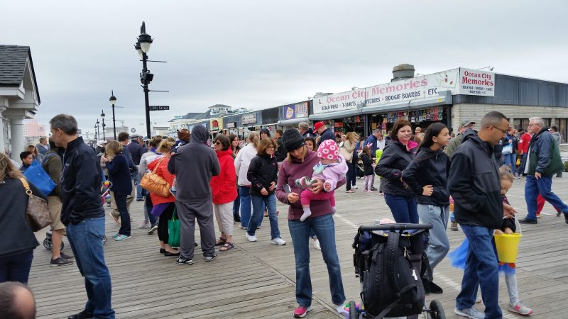 Summer-like crowds packed parts of the Boardwalk after the egg hunt wrapped up.