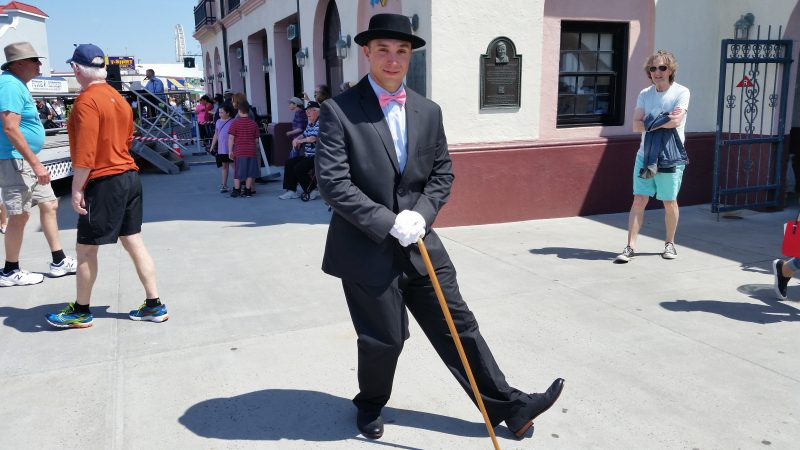 Jon Mullin, of Doylestown, Pa., used white gloves and a walking stick to jazz up his outfit.