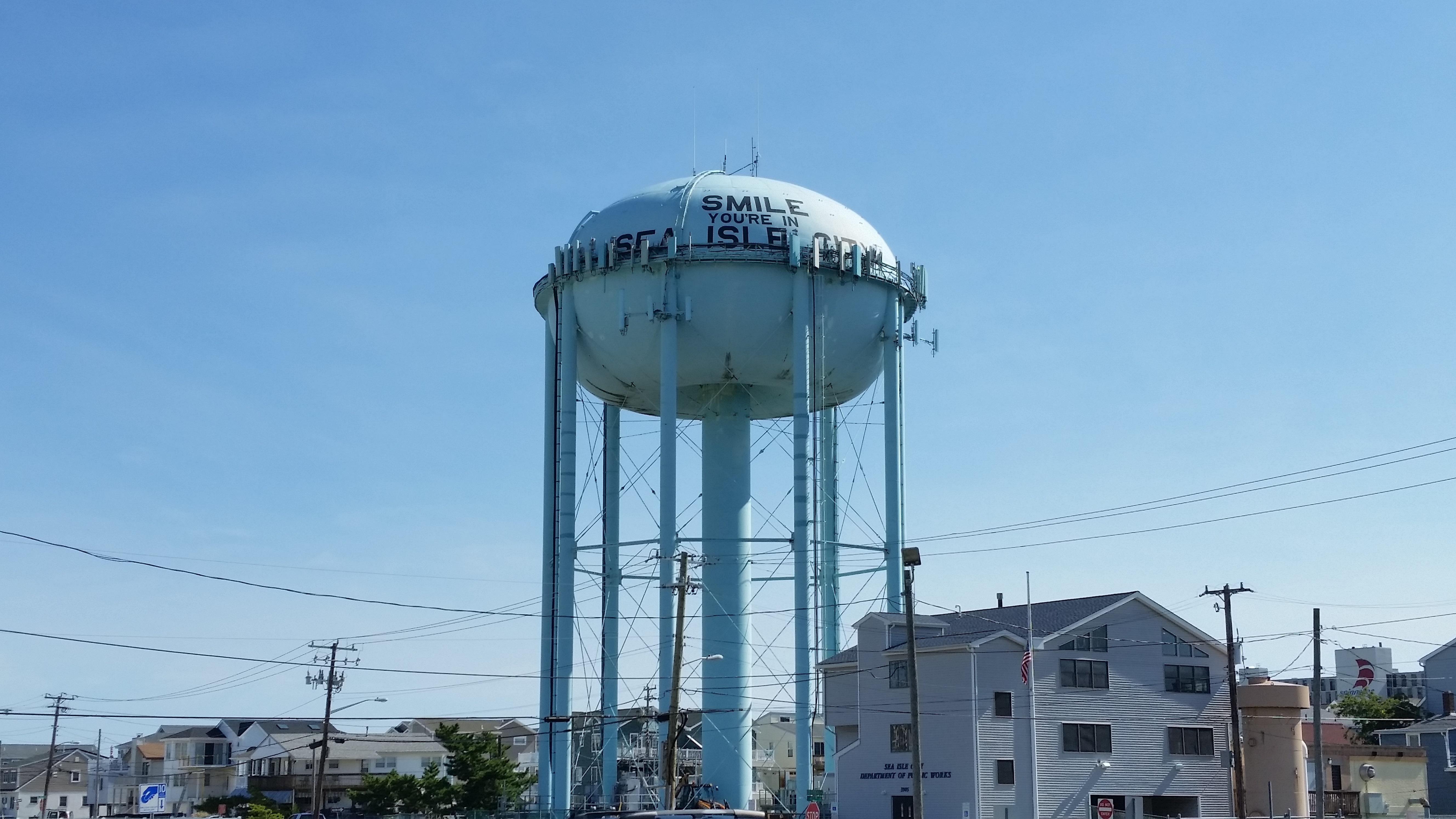 Seen here before the painting project began the water tower ... & Sea Isleu0027s